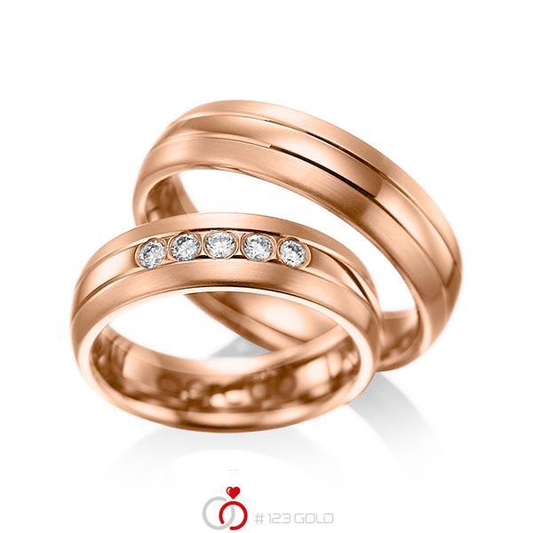 Set Klassieke trouwringen in roodgoud 14 kt. met in totaal 0,2 ct. Briljant tw/si van acredo - A-1001-5