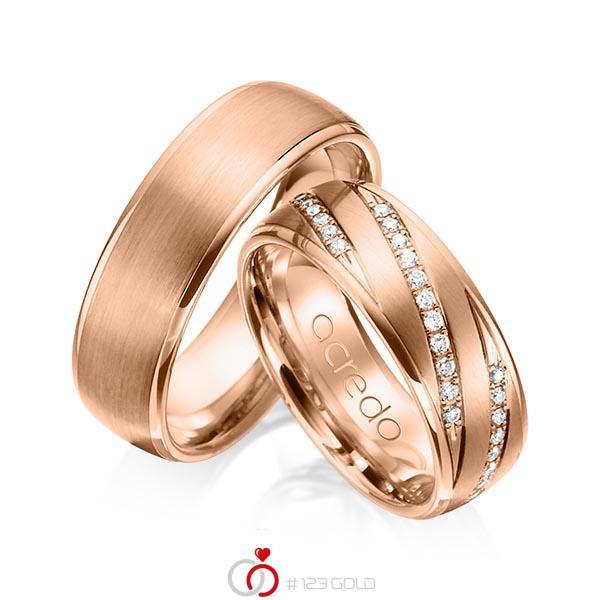 Set Klassieke trouwringen in roodgoud 14 kt. met in totaal 0,44 ct. Briljant tw/si van acredo - A-1150-7