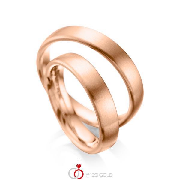 Set klassieke trouwringen in roodgoud 14 kt. van acredo - A-1081-4