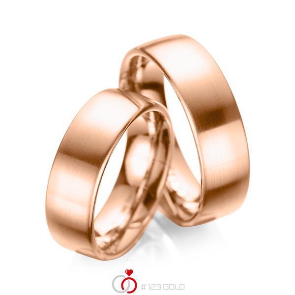 Set klassieke trouwringen in roodgoud 14 kt. van acredo - A-1083-3