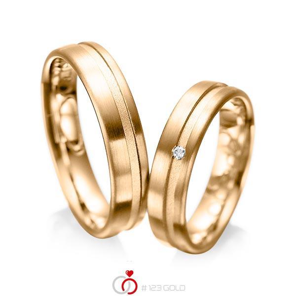 Set Klassieke trouwringen in roségoud 14 kt. met in totaal 0,02 ct. Briljant tw/si van acredo - A-1044-5