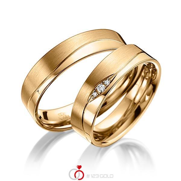 Set Klassieke trouwringen in roségoud 14 kt. met in totaal 0,03 ct. Briljant tw/si van acredo - A-3012-2