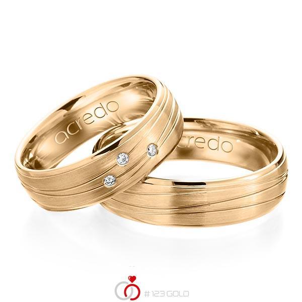Set Klassieke trouwringen in roségoud 14 kt. met in totaal 0,045 ct. Briljant tw/si van acredo - A-1157-6