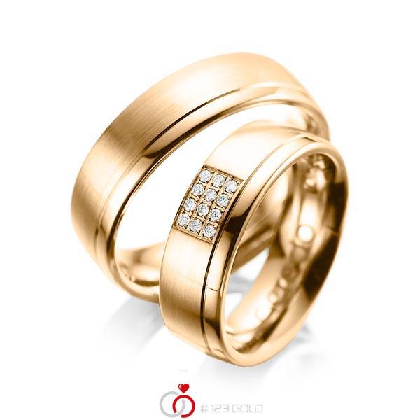 Set Klassieke trouwringen in roségoud 14 kt. met in totaal 0,096 ct. Briljant tw/si van acredo - A-1043-11