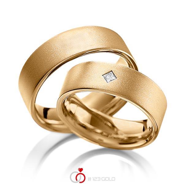 Set klassieke trouwringen in roségoud 14 kt. met in totaal 0,1 ct. Princess-Diamant tw,vs van acredo - A-1093-3