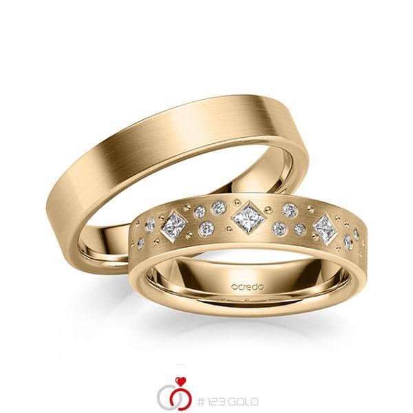 Set klassieke trouwringen in roségoud 14 kt. met in totaal 0,226 ct. Briljant & Princess-Diamant tw/si van acredo - A-2129-4