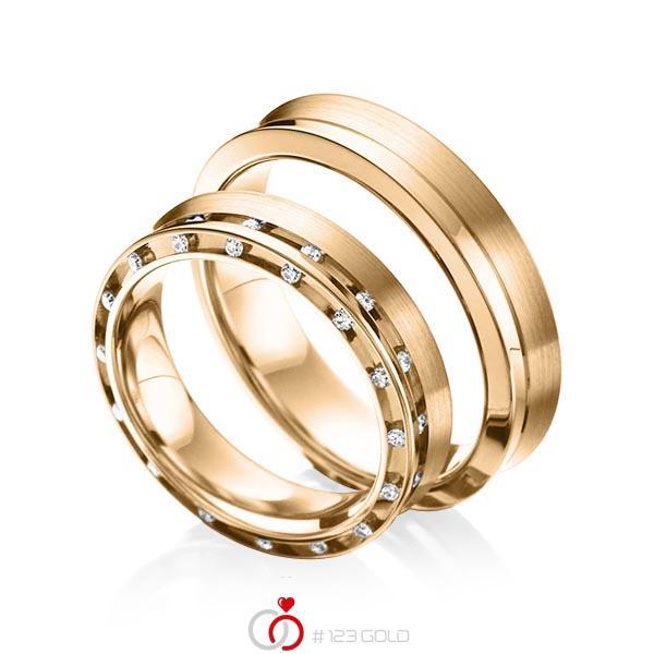 Set Klassieke trouwringen in roségoud 14 kt. met in totaal 0,256 ct. Briljant tw/si van acredo - A-6009-5