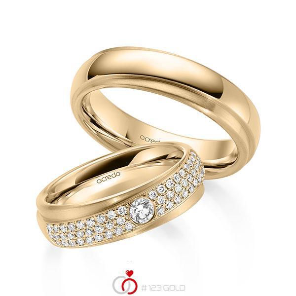 Set Klassieke trouwringen in roségoud 14 kt. met in totaal 0,582 ct. Briljant tw/si van acredo - A-2159-2
