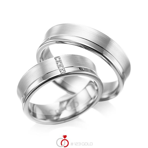Set Klassieke trouwringen in witgoud 14 kt. met in totaal 0,02 ct. Briljant tw/si van acredo - A-1053-7