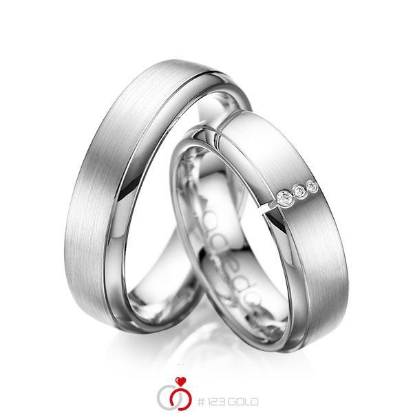 Set Klassieke trouwringen in witgoud 14 kt. met in totaal 0,03 ct. Briljant tw/si van acredo - A-1067-15
