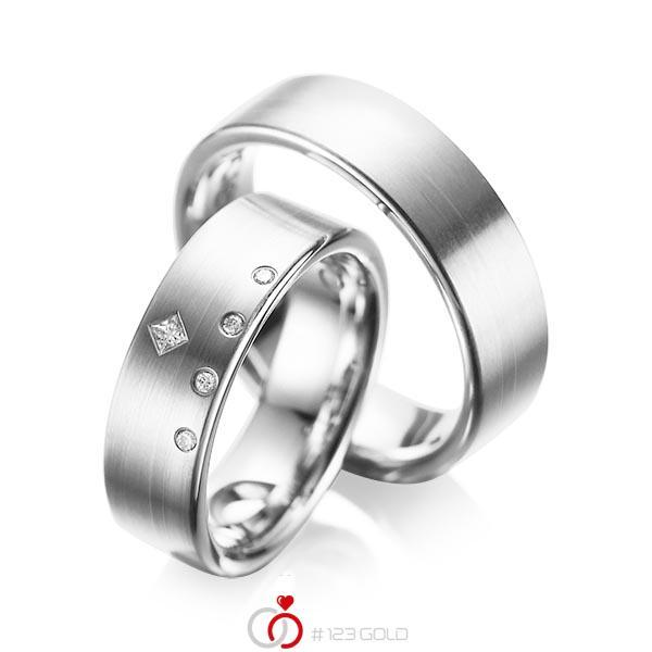 Set klassieke trouwringen in witgoud 14 kt. met in totaal 0,07 ct. Briljant & Princess-Diamant tw/si tw,vs van acredo - A-1038-7