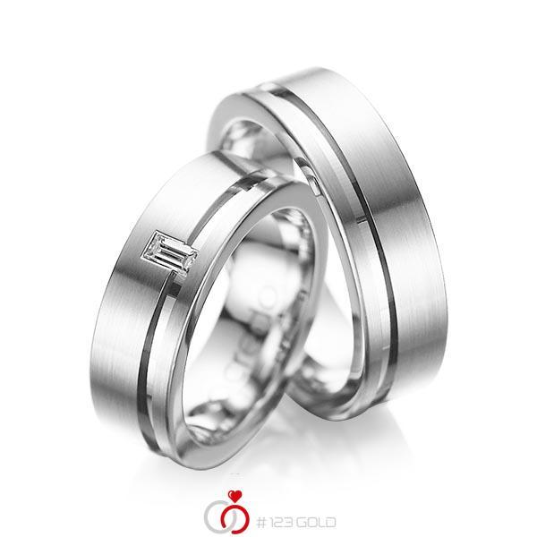 Set Klassieke trouwringen in witgoud 14 kt. met in totaal 0,12 ct. Baguette-Diamant tw,vs van acredo - A-1017-1
