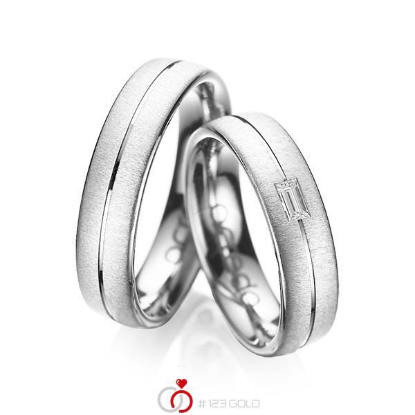 Set Klassieke trouwringen in witgoud 14 kt. met in totaal 0,12 ct. Baguette-Diamant tw,vs van acredo - A-1019-13