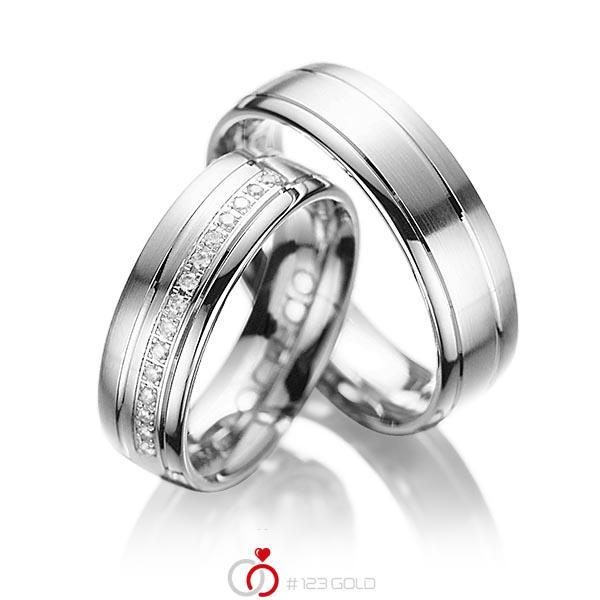 Set Klassieke trouwringen in witgoud 14 kt. met in totaal 0,15 ct. Briljant tw/si van acredo - A-1034-7