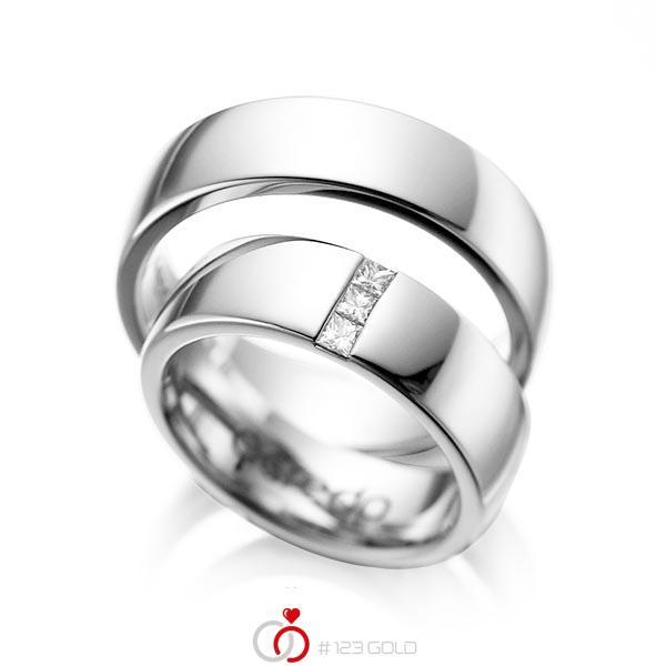 Set klassieke trouwringen in witgoud 14 kt. met in totaal 0,15 ct. Princess-Diamant tw/si van acredo - A-1056-1