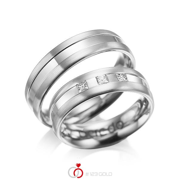 Set Klassieke trouwringen in witgoud 14 kt. met in totaal 0,18 ct. Princess-Diamant tw/si van acredo - A-1021-8