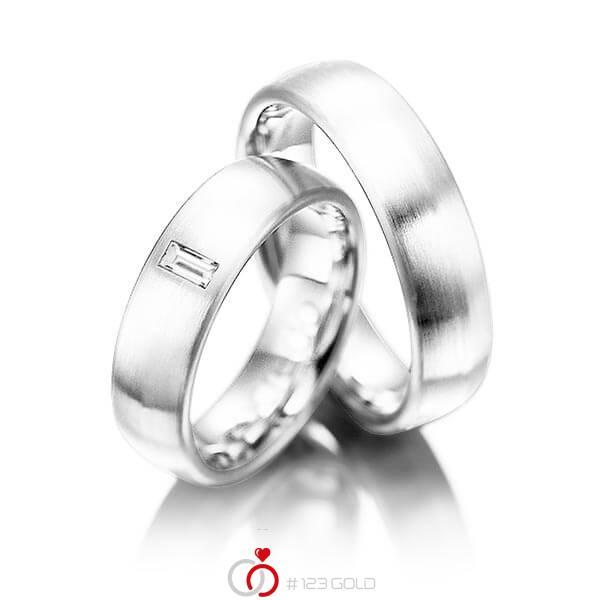 Set klassieke trouwringen in witgoud 14 kt. met in totaal 0,1 ct. Baguette-Diamant tw,vs van acredo - A-1002-8
