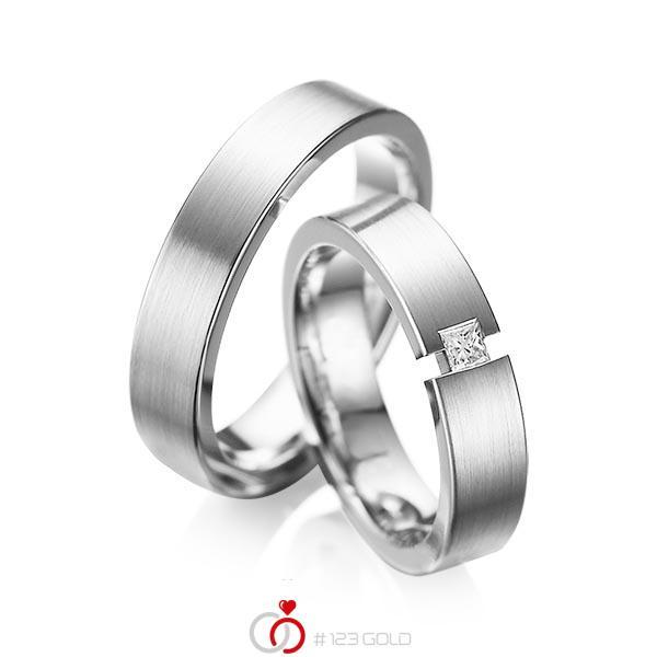 Set klassieke trouwringen in witgoud 14 kt. met in totaal 0,1 ct. Princess-Diamant tw/si van acredo - A-1041-1