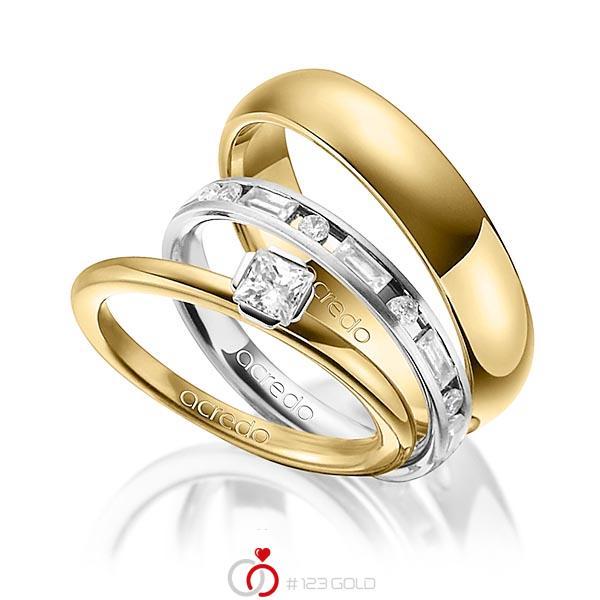 Tri-Set in Gelbgold 750 Weißgold 750 mit zus. 1,015 ct. Prinzess-Diamant & Brillant & Baguette-Diamant tw, si tw, vs von acredo - A-1436-10