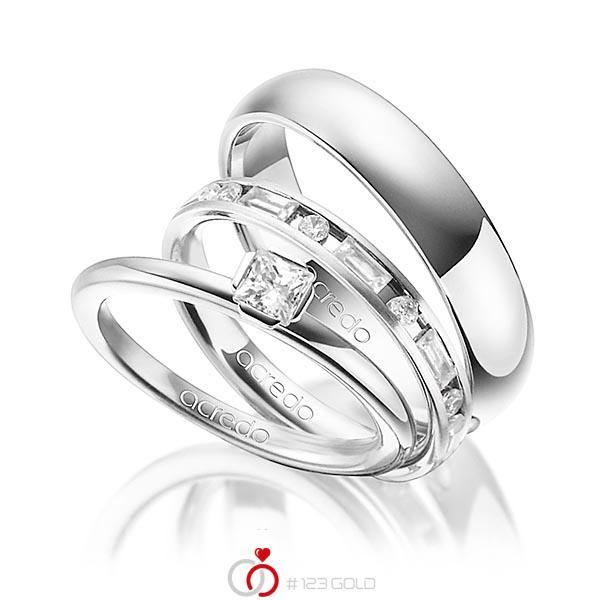 Tri-Set in Platin 950 mit zus. 1,015 ct. Prinzess-Diamant & Brillant & Baguette-Diamant tw, si tw, vs von acredo - A-1436-13