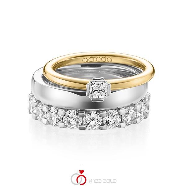 Triset in geelgoud 18 kt. witgoud 18 kt. met in totaal 3,29 ct. Princess-Diamant & Briljant tw/si tw,vs van acredo - A-1236-11