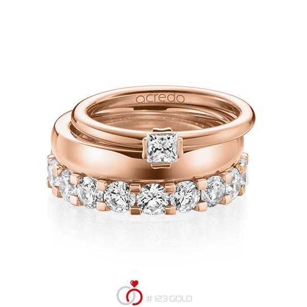 Triset in roodgoud 18 kt. met in totaal 3,29 ct. Princess-Diamant & Briljant tw/si tw,vs van acredo - A-1236-15