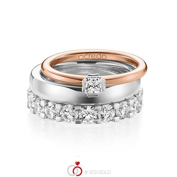 Triset in roodgoud 18 kt. witgoud 18 kt. met in totaal 3,29 ct. Princess-Diamant & Briljant tw/si tw,vs van acredo - A-1236-10