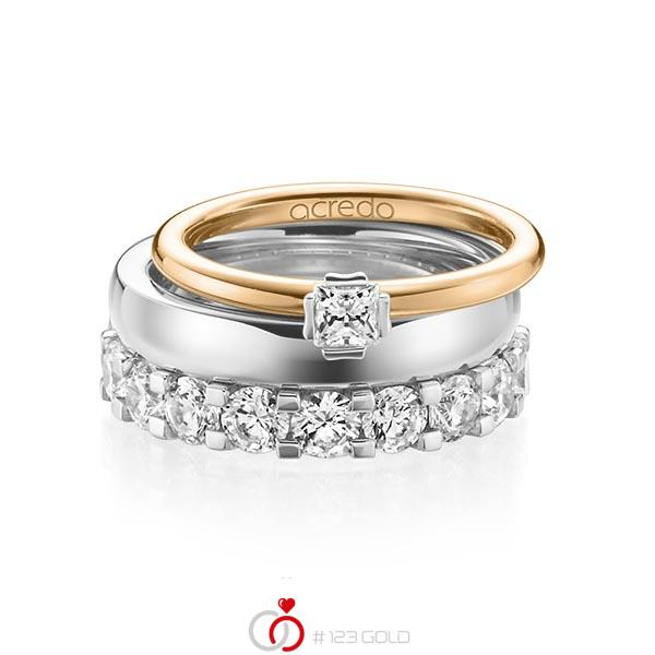 Triset in roségoud 18 kt. witgoud 18 kt. met in totaal 3,29 ct. Princess-Diamant & Briljant tw/si tw,vs van acredo - A-1236-12