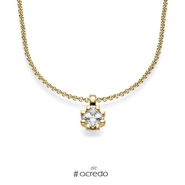 Anhänger in Gelbgold 585 mit 0,7 ct. Prinzess-Diamant tw, vs von acredo