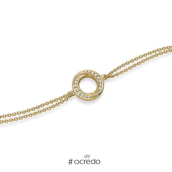 Armband mit Anhänger in Gelbgold 585 mit zus. 0,112 ct. tw, si von acredo