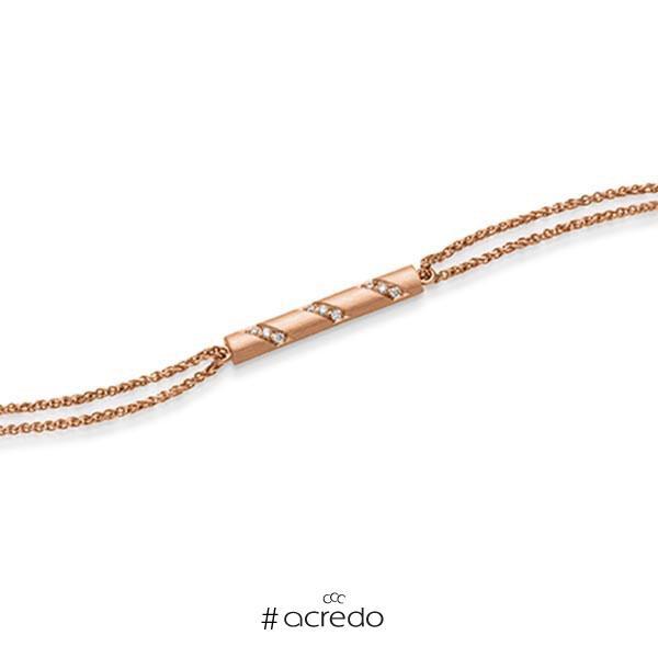 Armband mit Anhänger in Rotgold 585 mit zus. 0,09 ct. tw, si von acredo