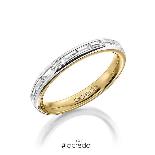 bicolor Memoire-Trauring/Ehering in außen Graugold 585 , innen Gelbgold 585 halbausgefasst mit zus. 0,55 ct. Baguette-Diamant tw, vs von acredo