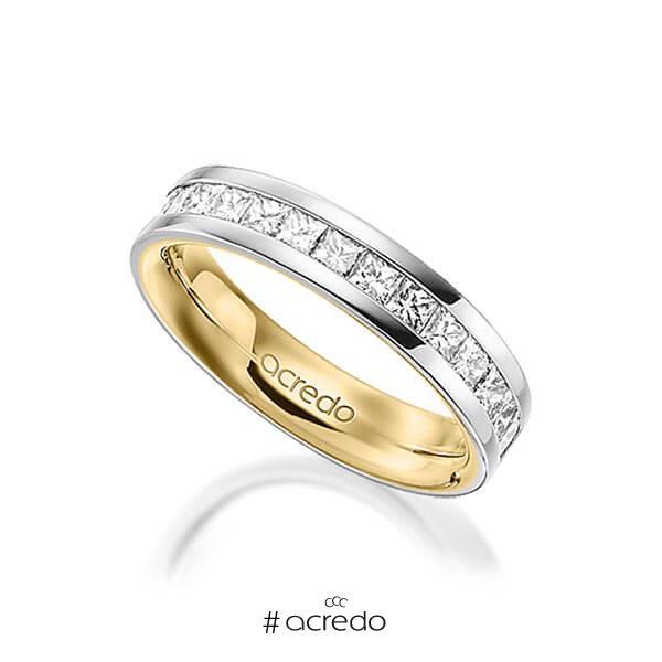 bicolor Memoire-Trauring/Ehering in außen Graugold 585 , innen Gelbgold 585 halbausgefasst mit zus. 1,05 ct. Prinzess-Diamant tw, si von acredo