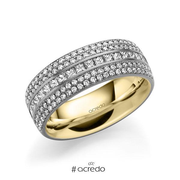 bicolor Memoire-Trauring/Ehering in außen Graugold 585 , innen Gelbgold 585 halbausgefasst mit zus. 1,12 ct. Brillant & Prinzess-Diamant tw, si von acredo