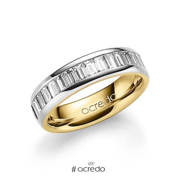 bicolor Memoire-Trauring/Ehering in außen Graugold 585 , innen Gelbgold 585 halbausgefasst mit zus. 1,36 ct. Baguette-Diamant tw, vs von acredo