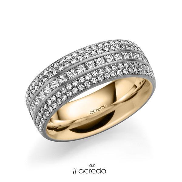 bicolor Memoire-Trauring/Ehering in außen Graugold 585 , innen Roségold 585 halbausgefasst mit zus. 1,12 ct. Brillant & Prinzess-Diamant tw, si von acredo