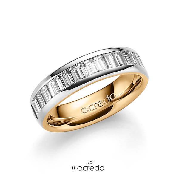 bicolor Memoire-Trauring/Ehering in außen Graugold 585 , innen Roségold 585 halbausgefasst mit zus. 1,36 ct. Baguette-Diamant tw, vs von acredo