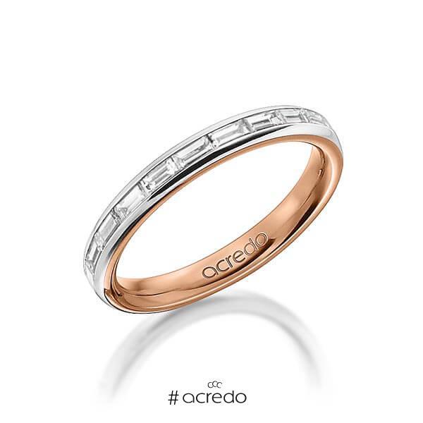 bicolor Memoire-Trauring/Ehering in außen Graugold 585 , innen Rotgold 585 halbausgefasst mit zus. 0,55 ct. Baguette-Diamant tw, vs von acredo