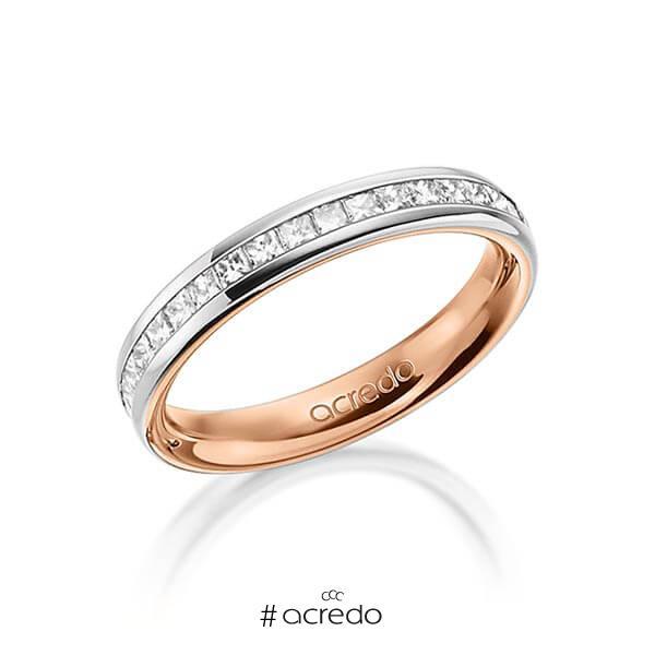 bicolor Memoire-Trauring/Ehering in außen Graugold 585 , innen Rotgold 585 halbausgefasst mit zus. 0,57 ct. Prinzess-Diamant tw, si von acredo