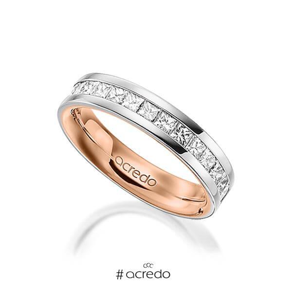 bicolor Memoire-Trauring/Ehering in außen Graugold 585 , innen Rotgold 585 halbausgefasst mit zus. 1,05 ct. Prinzess-Diamant tw, si von acredo