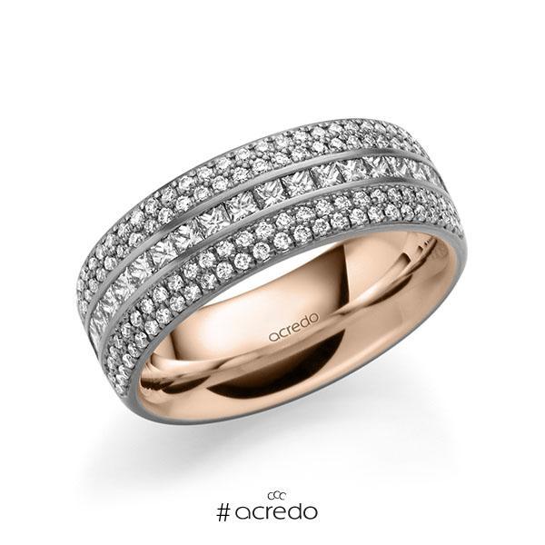bicolor Memoire-Trauring/Ehering in außen Graugold 585 , innen Rotgold 585 halbausgefasst mit zus. 1,12 ct. Brillant & Prinzess-Diamant tw, si von acredo
