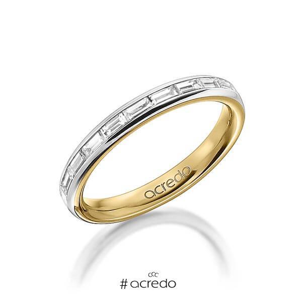 bicolor Memoire-Trauring/Ehering in außen Platin 950 , innen Gelbgold 750 halbausgefasst mit zus. 0,55 ct. Baguette-Diamant tw, vs von acredo