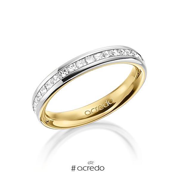 bicolor Memoire-Trauring/Ehering in außen Platin 950 , innen Gelbgold 750 halbausgefasst mit zus. 0,57 ct. Prinzess-Diamant tw, si von acredo