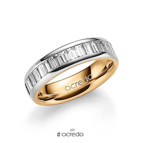 bicolor Memoire-Trauring/Ehering in außen Platin 950 , innen Roségold 750 halbausgefasst mit zus. 1,36 ct. Baguette-Diamant tw, vs von acredo