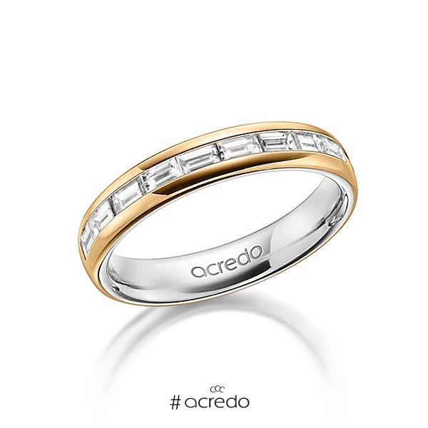 bicolor Memoire-Trauring/Ehering in außen Roségold 585 , innen Graugold 585 halbausgefasst mit zus. 0,8 ct. Baguette-Diamant tw, vs von acredo