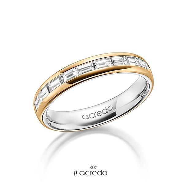 bicolor Memoire-Trauring/Ehering in außen Roségold 750 , innen Platin 950 halbausgefasst mit zus. 0,8 ct. Baguette-Diamant tw, vs von acredo