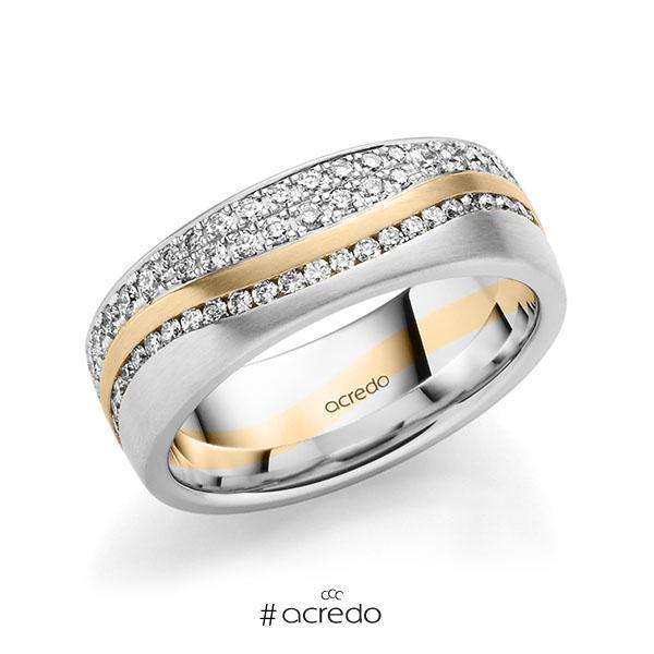 bicolor Memoire-Trauring/Ehering in Weißgold 585 Roségold 585 vollausgefasst mit zus. 1,085 ct. Brillant tw, si von acredo