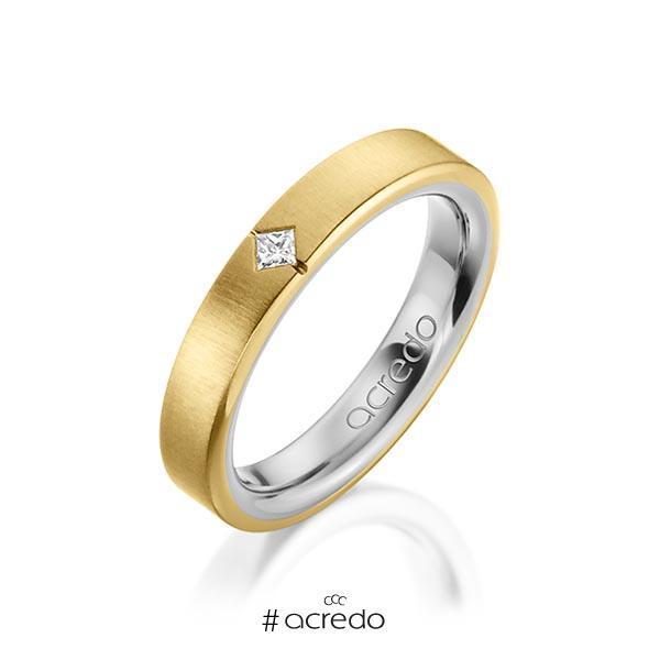 bicolor Trauring/Ehering in außen Gelbgold 585 , innen Graugold 585 mit zus. 0,05 ct. Prinzess-Diamant tw, si von acredo