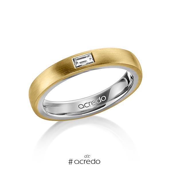 bicolor Trauring/Ehering in außen Gelbgold 585 , innen Graugold 585 mit zus. 0,15 ct. Baguette-Diamant tw, vs von acredo