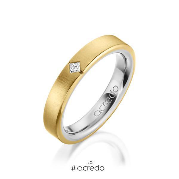 bicolor Trauring/Ehering in außen Gelbgold 750 , innen Platin 950 mit zus. 0,05 ct. Prinzess-Diamant tw, si von acredo